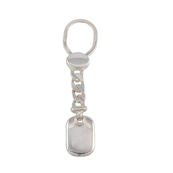 Handpolished .925 Sterling Silver Engravable Key Chain (Italy)