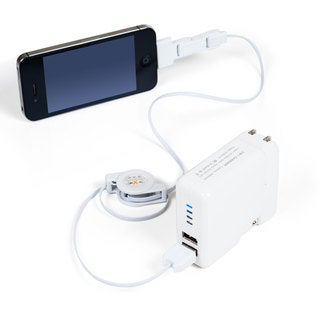 Northwest White USB Power Bank with Car Charger