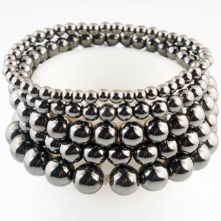 5 Gray Gunmetal Beaded Stretch Bracelets (China)