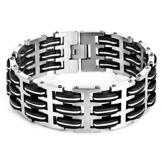 Men's Stainless Steel and Black Rubber Link Bracelet