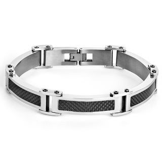 Stainless Steel Men's Black Carbon Fiber Link Bracelet
