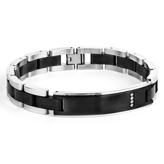 Crucible Men's Black-plated Stainless Steel Cubic Zirconia ID Bracelet