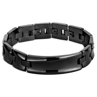 Black-plated Stainless Steel Men's Concave ID Bracelet