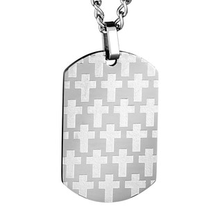 Stainless Steel Men's Brushed and Polished Cross Dog Tag Necklace