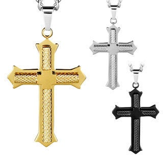 Stainless Steel Men's Diamond-cut Flared Cross Necklace