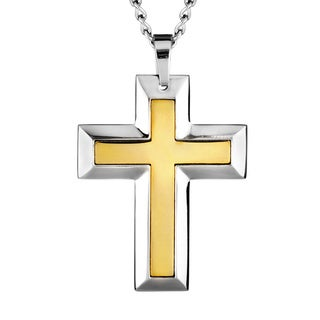 Goldplated Stainless Steel Men's Large Cross Necklace