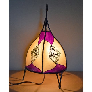 Handmade Purple and Natural Leather Henna Accent Lamp (Morocco)
