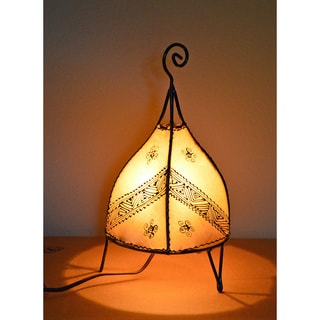 Handmade Natural Leather and Iron Henna Accent Lamp (Morocco)