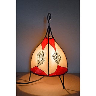 Handmade Red and Natural Leather Henna Accent Lamp (Morocco)
