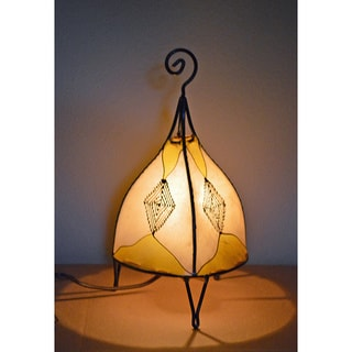 Handmade Yellow and Natural Leather Henna Accent Lamp (Morocco)