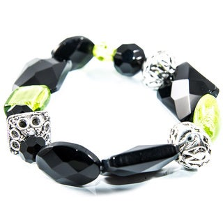 Black Onyx, Green Glass and Silver Bead Stretch Bracelet (China)