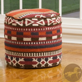 Christopher Knight Home Cheyenne Red-Multi Wool Pouf Ottoman
