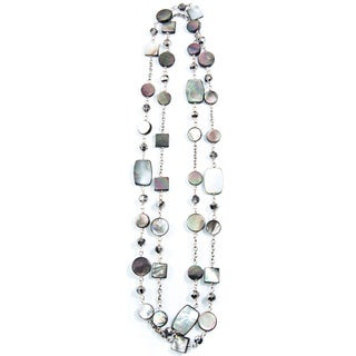 Gray Mother-of-Pearl and Crystal Bead Chain Necklace (China)
