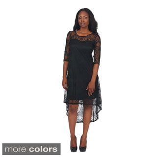 Women's High-Low Lace Overlay Dress