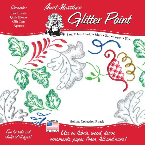 Aunt Martha's Glitter Paint Tubes 3 Ounce 5/Pkg - Holiday