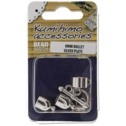 Kumihimo Bullet Finding Set 6mm - Silver Plated
