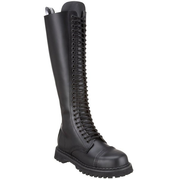 Demonia Men's Rocky-30' Black Leather 30-eyelet Knee-high Boots