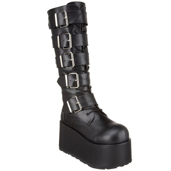 Demonia Men's 'Ripsaw-518' Black 5-strap Knee-high Platform Boots