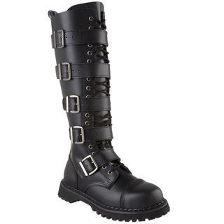 Demonia Men's 'Riot-20' Black Leather 5-strap Knee-high Boots