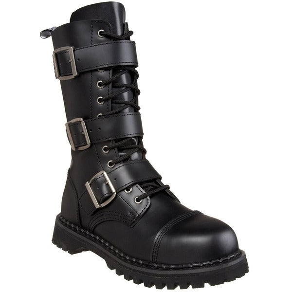 Demonia Men's 'Riot-12' Black Leather 3-strap Mid-calf Boots