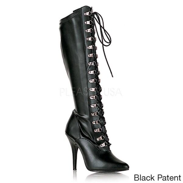 Pleaser Women's 'Seduce-2024' Black Lace-up Stretch Stiletto Boots