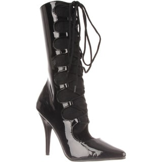 Pleaser Women's 'Seduce-1049' Black Lace-up Stretch Stiletto Boots