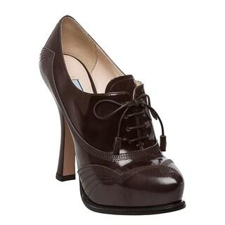 Prada Women's 'Spazzolato' Smoke Grey Leather Oxford Pumps