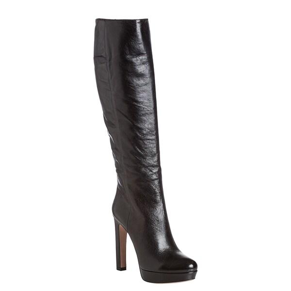 Prada Women's Black Leather Knee-high Platform Boots