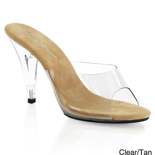 Pleaser Women's 'Caress-401' Clear Stiletto Slide Sandals