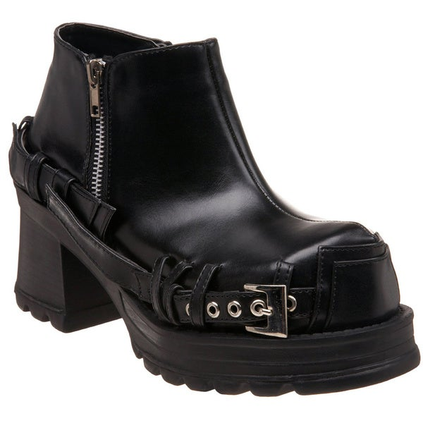 Demonia Men's 'Pirate-08' Black Block Heel Ankle Boots