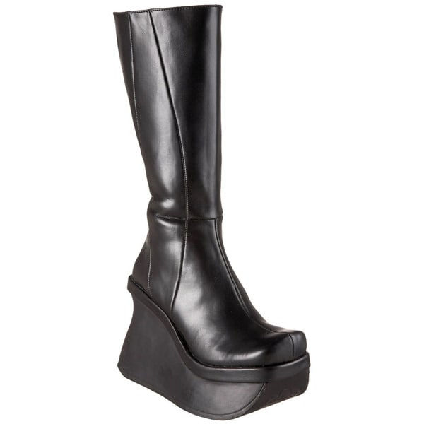 Demonia Women's 'Pace-100' Black Knee-high Platform Wedge Boots