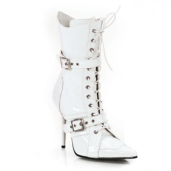 Pleaser Women's 'Milan-1022' Patent Double Buckle Lace-up Boots