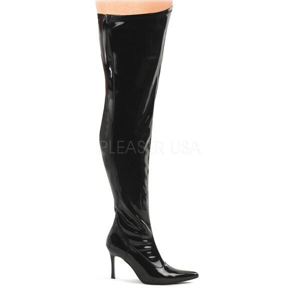 Funtasma Women's 'Lust-3000x' Black Patent Wide Width Thigh-high Stiletto Boots