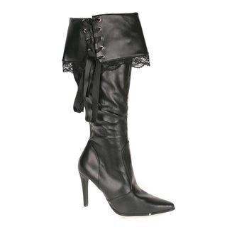 Funtasma Women's 'Plunder-110X' Black Wide Width Knee-high Pirate Boots