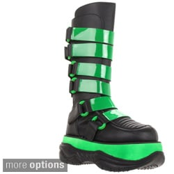 Demonia Men's 'Neptune-310UV' Cyber Goth Circuit Board Knee High Boots