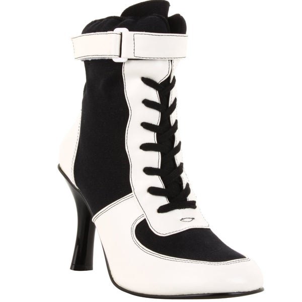 Funtasma Women's 'Referee-125' Black/ White Lace-up Ankle Boots
