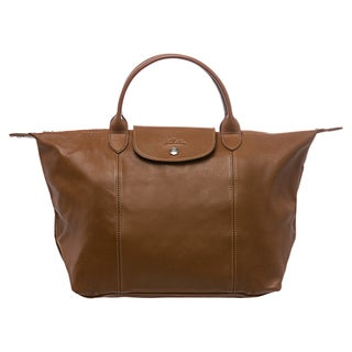 Longchamp 'Le Pliage Cuir' Medium Camel Leather Handbag