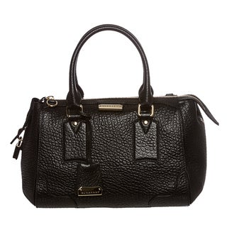 Burberry 'Heritage' Small Black Grain Leather Tote