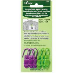 Locking Stitch Markers With Clip 6/Pkg - 6/Pkg