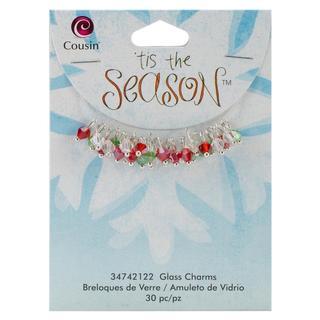 Tis The Season Glass/Metal Charms - Bicone W/Silver 30/Pkg