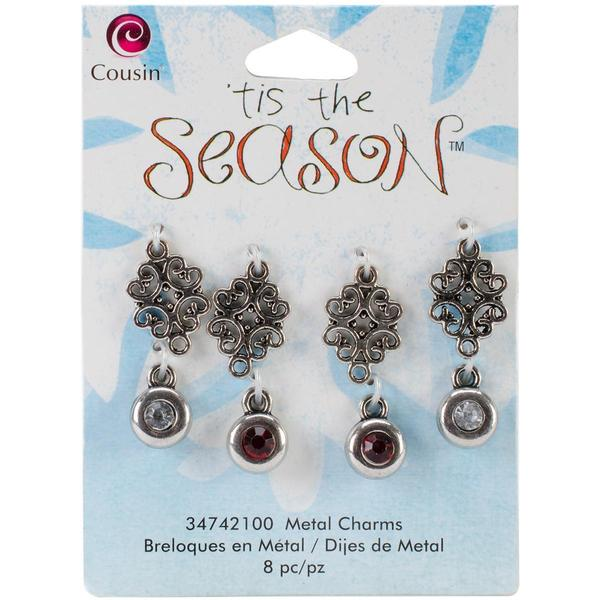 Tis The Season Metal Charms - Scroll/Rhinestone 8/Pkg