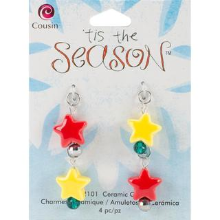 Tis The Season Ceramic/Glass/Metal Charms - Stars 4/Pkg