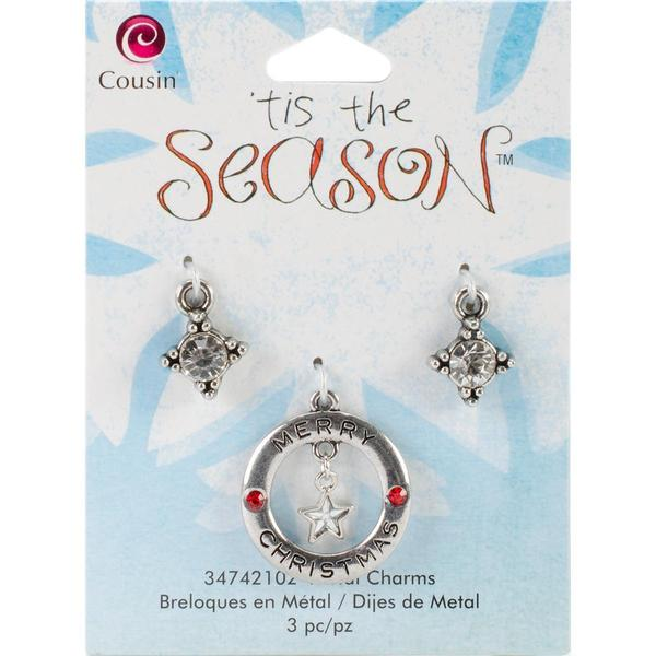 Tis The Season Metal Charms - Round W/Star 3/Pkg