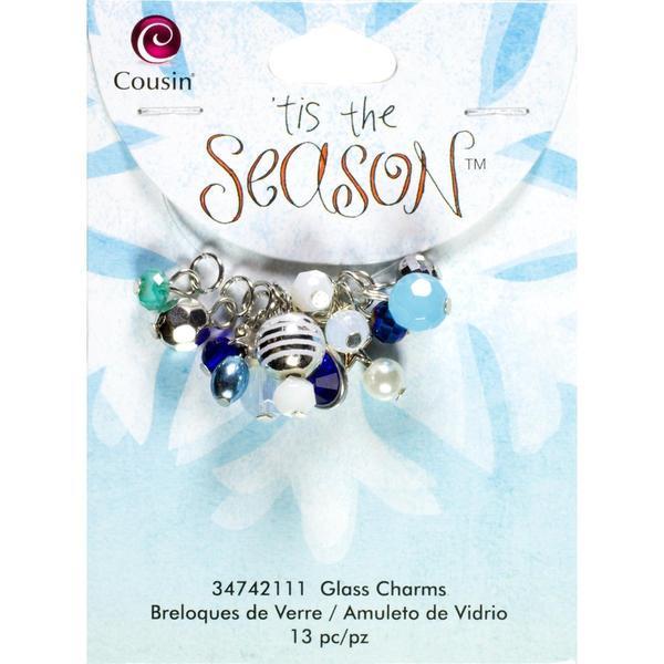 Tis The Season Glass/Acrylic/Metal Charms - Drops Blue 13/Pkg