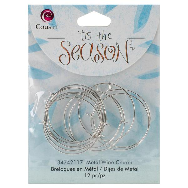 Tis The Season Metal Charms - Wine 12/Pkg