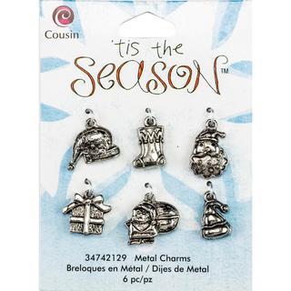 Tis The Season Metal Charms - Santa Mix 6/Pkg