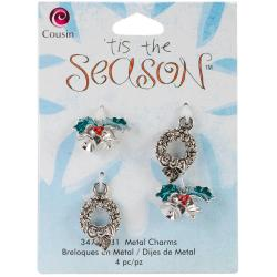 Tis The Season Metal Charms - Wreath/Bell 4/Pkg