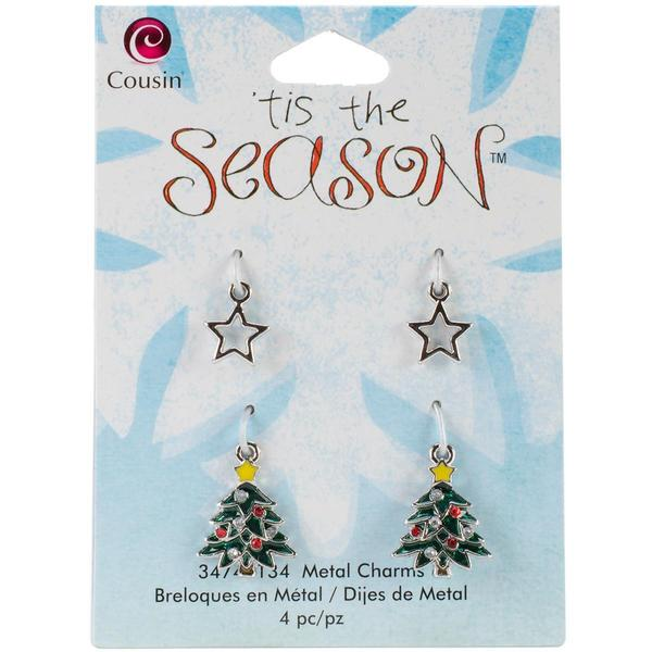 Tis The Season Metal Charms - Tree/Star 4/Pkg