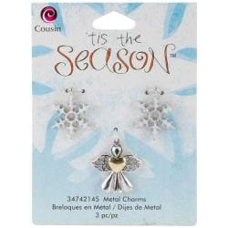 Tis The Season Metal Charms - Angel/Snowflake 3/Pkg