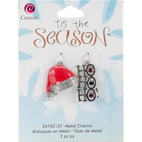 Tis The Season Metal Charms - Hat/Ho Ho Ho 2/Pkg